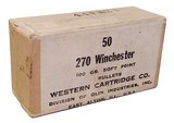 Collectible Bullets: Full Box Western Cartridge Co. 270 Winchester 100 gr. Soft Point Bullets - 44FM21 - 1 of 6