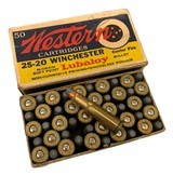 collectible ammo full box: western cartidges 25-20 winchester 86 grain soft point lubaloy