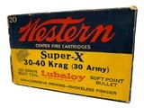 Collectible Ammo: Full Box 20 Rounds of Western Super X .30-40 Krag 30 Army 220 Gn Lubaloy Soft Point Boat Tail #K1438C - 2 of 9