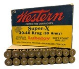 Collectible Ammo: Full Box 20 Rounds of Western Super X .30-40 Krag 30 Army 220 Gn Lubaloy Soft Point Boat Tail #K1438C - 1 of 9