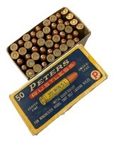 Collectible Ammo: Full Box 50 Rounds of Peters .351 Win SL For Winchester 1907 Self Loading Rifle - 1 of 8