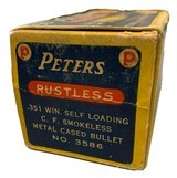 Collectible Ammo: Full Box 50 Rounds of Peters .351 Win SL For Winchester 1907 Self Loading Rifle - 5 of 8