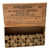 Collectible Ammo Partial Box: 30 Rounds Winchester .38 Smith & Wesson Blank Cartridges