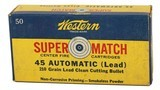 Collectible Ammo: Full Box Western Super Match 45 Automatic 210 Grain Lead Clean Cutting Bullet 45 AMRP Bullseye Box