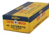 Collectible Ammo: Full Box Western Super Match 45 Automatic 210 Grain Lead Clean Cutting Bullet 45 AMRP Bullseye Box - 4 of 8