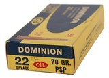 Collectible Ammo: Full Box 20 Rounds Dominion 22 Savage 70 GR. PSP (22 High Power) - 3 of 11