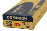 Collectible Ammo: Full Box 20 Rounds Dominion 22 Savage 70 GR. PSP (22 High Power) - 5 of 11