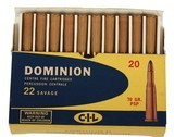 Collectible Ammo: Full Box 20 Rounds Dominion 22 Savage 70 GR. PSP (22 High Power) - 9 of 11