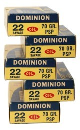 collectible ammo: full box 20 rounds dominion 22 savage 70 gr. psp (22 high power)