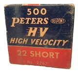 Collectible Ammo: Full Brick 500 Rounds of Peters High Velocity .22 Short #2267 - 5 of 11