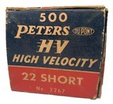 Collectible Ammo: Full Brick 500 Rounds of Peters High Velocity .22 Short #2267 - 7 of 11