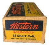 Collectible Ammo: Full Box 50 Rounds of Western .32 Short Colt Centerfire 80 Grain Bullet Western #K1323T - 6 of 7