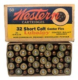 Collectible Ammo: Full Box 50 Rounds of Western .32 Short Colt Centerfire 80 Grain Bullet Western #K1323T