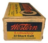 Collectible Ammo: Full Box 50 Rounds of Western .32 Short Colt Centerfire 80 Grain Bullet Western #K1323T - 4 of 7