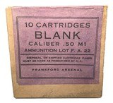 Collectible Ammo: Full Sealed Box 10 Cartridges of Frankford Arsenal Cal .50 M1 BLANK Ammunition lot F.A. 22 - 1 of 6