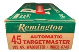 Collectible Ammo: Full Box 50 Cartridges of Remington Automatic TargetMaster 185 GR. Wadcutter REM #6745 - 4 of 7