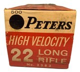 Collectible Ammo: Partial Brick 473 Rounds of Peters Kleanbore High Velocity 22 Long Rifle No. 2283 - 4 of 9
