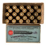 Collectible Ammo: Full Box 50 Empty Primed Shells Remington UMC .32 Extra Long Ballard (.32 EXL) REM #144 - 1 of 7