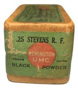 Collectible Ammo: Full Sealed Box 50 Cartridges Remington UMC .25 Stevens R.F. 67 Gr. Black Powder Rem # 56-A - 2 of 6