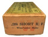 Collectible Ammo: Full Box of 50 Rounds Winchester .38 Short Rim Fire Rifle Cartridges Dated 7-21 Win #52 - 3 of 7