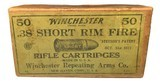 Collectible Ammo: Full Box of 50 Rounds Winchester .38 Short Rim Fire Rifle Cartridges Dated 7-21 Win #52 - 1 of 7