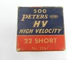 Collectible Ammo: One complete 500-round brick of Peters High Velocity .22 Short No. 2267 - 16 of 17