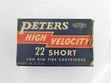 Collectible Ammo: One complete 500-round brick of Peters High Velocity .22 Short No. 2267 - 11 of 17