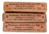 Collectible Ammo: Partial/Mixed Boxes 43 Rounds of Peters .30-40 Krag and Win. -220 Grs. Adapted Krag Jorgensen and Winchester Model 1895 Peter #3068 - 1 of 8