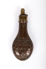 Ornate Antique Powder Flask, Marked on Spout Hawksley - 1 of 10