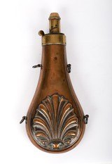 "Antique Unmarked Powder Flask Shell Pattern 7-3/4"" Overall - 1 of 9"