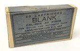 Collectible Ammo: Sealed Box - Frankford Arsenal Blank Caliber .30 M1909 for Rifles & Automatic Guns - Ammunition Lot F. A. 437