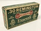Collectible Ammo: Partial Box - 16 Rounds of .30 Remington 165 Grains Mushroom Bullet - Remington UMC Kleanbore Express