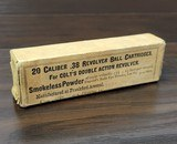 collectible ammo: sealed box20 rounds of .38 revolver ball cartridges for colt's double action revolversmokeless powder