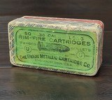 Collectible Ammo: Full Box - 50 Rounds of .38 Caliber Long Rim-Fire - The Union Metallic Cartridge Co. Swaged Bullets