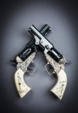 1950's Colt Custom Built Revolvers Silverplated engraved with Scrimshawed Ivory Grips