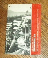 Factory BROWNING owner's manual for model 92 rifle