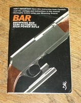 BROWNING original owner's manual for BAR rifle
