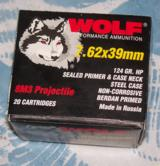 WOLF 7.62 x 39 ammo, 124 grain hollow point, 500 rounds