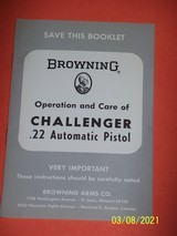 BROWNING Challenger 22 pistol manual, dated 1968