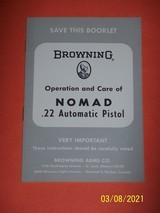 BROWNING manual for NOMAD 22 pistol, dated 1968