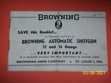 Browning manual for Automatic Shotgun, 12 and 16 gauge