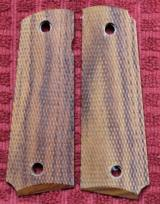 Colt or 1911 Full Size Full Checkered Wood Pistol Grips