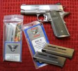 """Caspian 1911 9mm 3 1/2"""" Slide Compact Frame Custom Stainless w 3 Mags"""