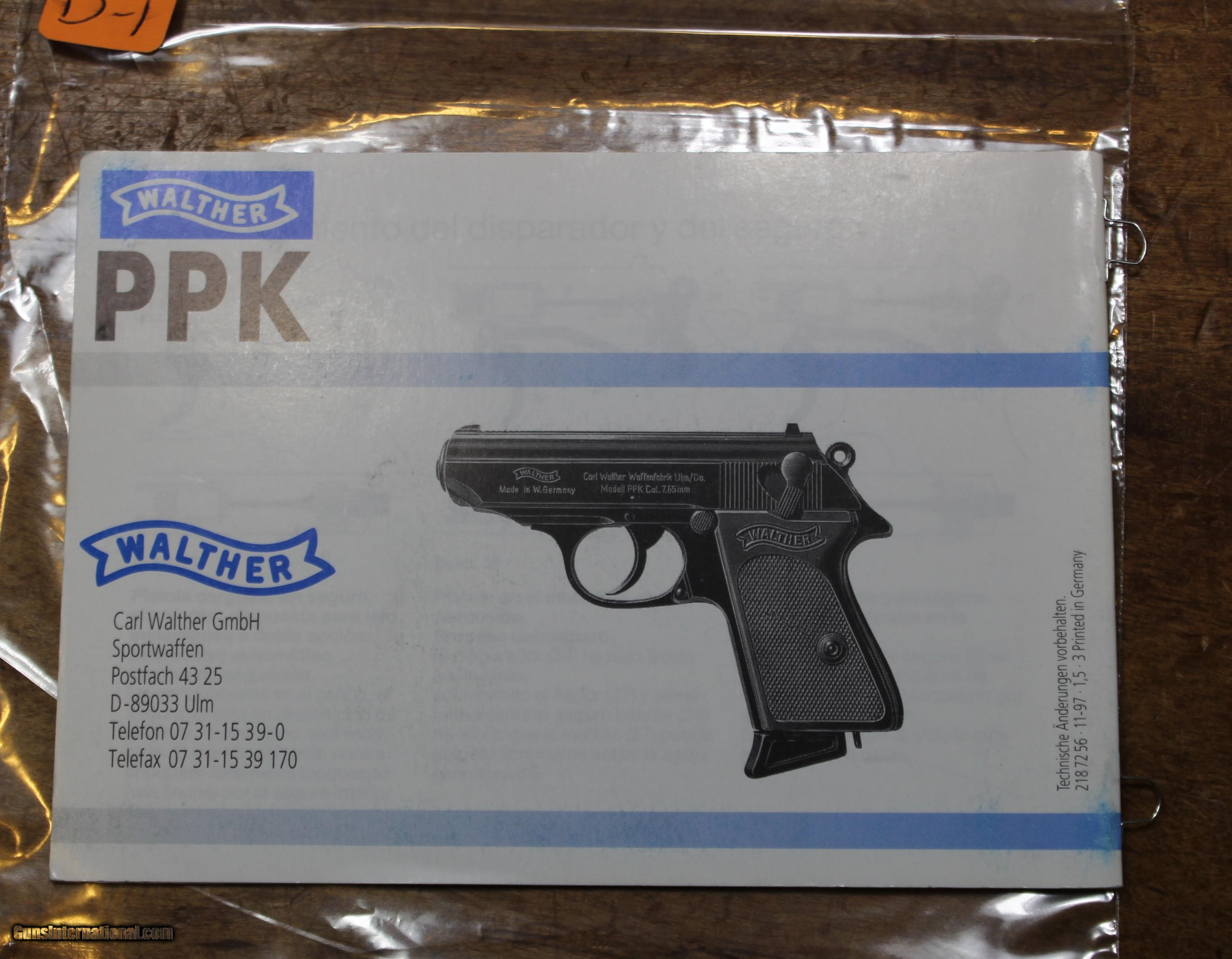 early- manual original from factory german language Carl Walther PP//PPK