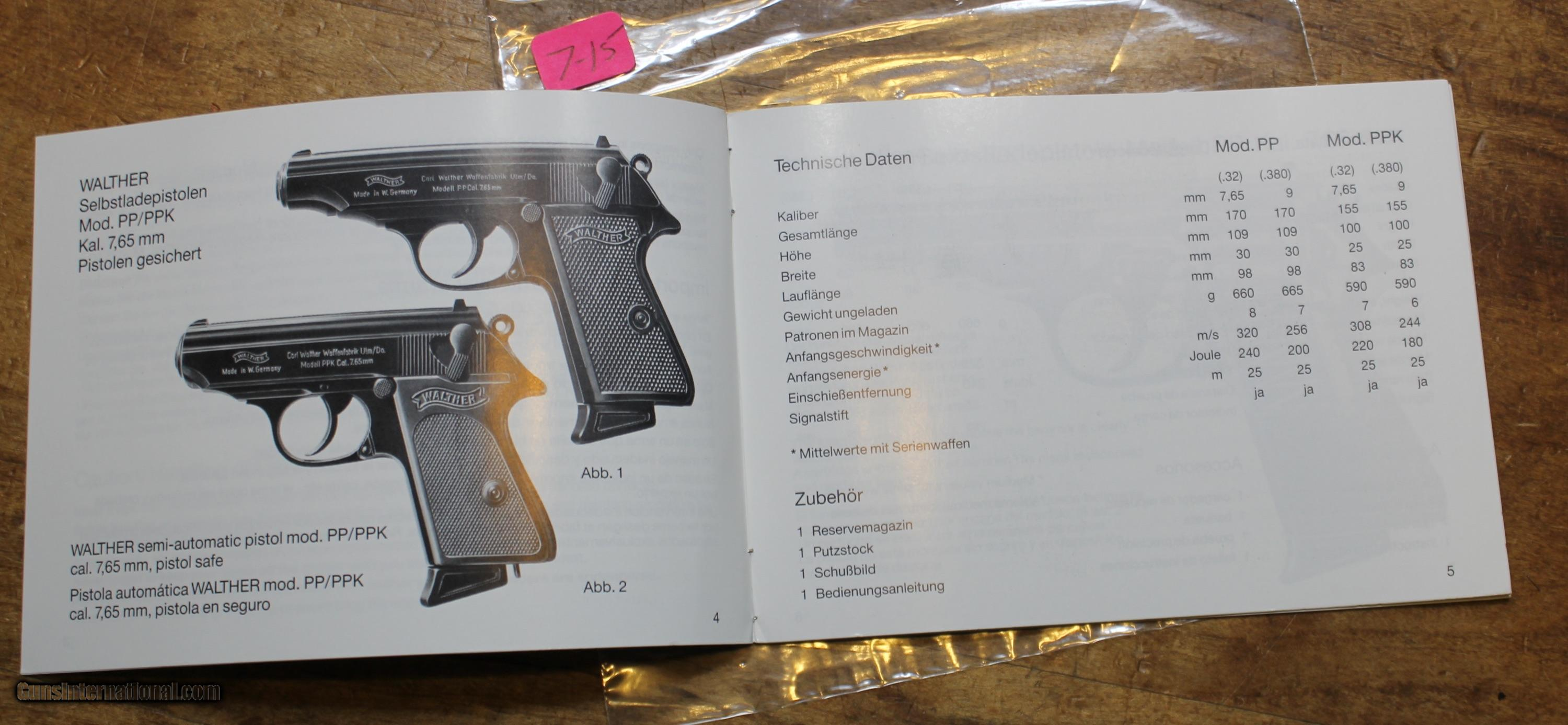 ... Original Factory Walther PP PPK Manual NOT a reproduction - 6 of 8 ...