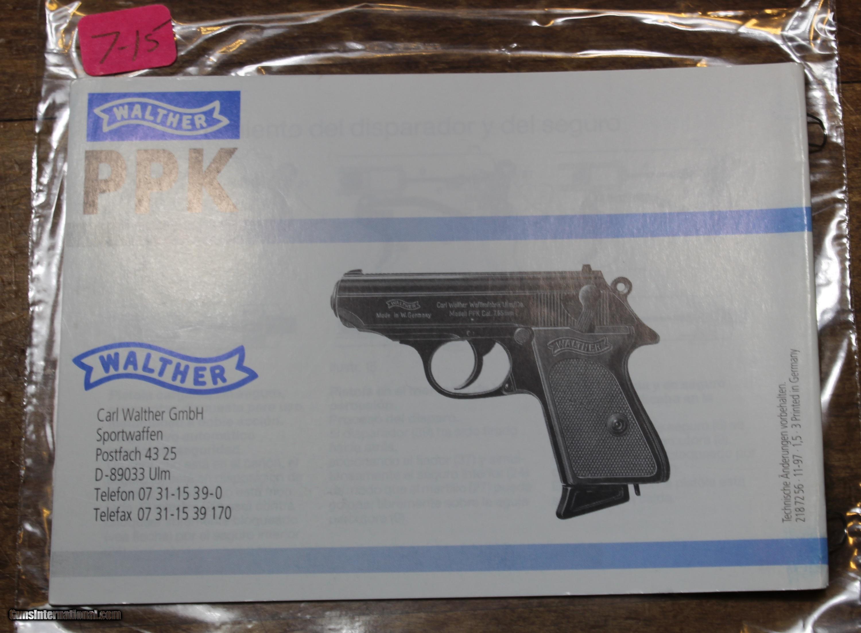 original factory walther pp ppk manual not a reproduction rh gunsinternational com Walther PPK CO2 Walther Pellet Pistol