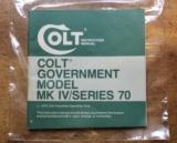 Original Factory Colt Government Model MK IV/Series 70 1911 Manual NOT a Reproduction