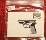 Original Factory Walther P5 Manual NOT a reproduction
