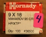 Two (2) Boxes of 100 count 9x18 Makarov Bullets Hornady Bullets 95 Gr HP/XTP # 36500 - 1 of 8