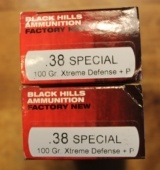 100 rounds of Black Hills 38 Special Plus P 100 Grain Xtreme Defense Handgun or Pistol Ammunition